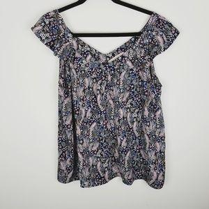 Loft cap sleeve floral semi sheer blouse petite
